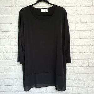 Chico's Black Tiered Bottom Long Sleeve Blouse